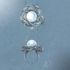 #azilaz #ring #pearl #handdrawing #handsketch #jewelry #designer #designerjewelry