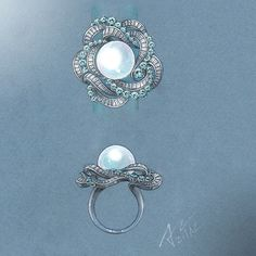 #azilaz #ring #pearl #handdrawing #handsketch #jewelry #designer…