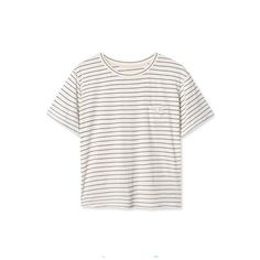 Pocket Detail Round Neck Short Sleeve Stripes Tee ($9.89) ❤ liked on Polyvore featuring tops, t-shirts, white tee, striped t shirt, short sleeve t shirt, white t shirt and striped pocket tee