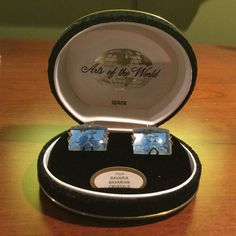 Vintage 1960s SWANK Arts of the World BAVARIAN CRYSTAL Cufflinks in Orig BOX #Swank