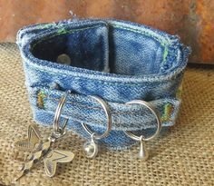 This beautiful, warn denim cuff is adorned with a dragonfly and fun flowers and leaves. This comfortable cuff is 8 inches when fastened. Denim Bracelet, Fabric Bracelets, Fabric Jewelry, Boho Jewelry, Jewelry Crafts, Handmade Jewelry, Jean Crafts, Denim Crafts, Mode Hippie