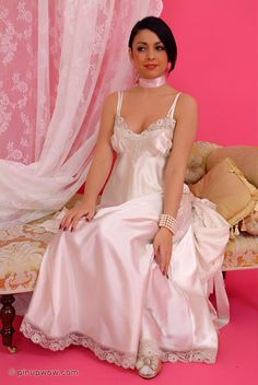"femininfatuation: ""nothing excites me more than nightwear, especially long nightgowns "" Satin Nightie, Silk Chemise, Satin Lingerie, Pretty Lingerie, Vintage Lingerie, Beautiful Lingerie, Sexy Lingerie, Lace Nightgown, Satin Sleepwear"