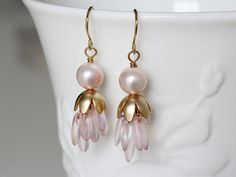 Pearl Earrings Czech Glass and Flower Cap Dangle by YuniDesigns