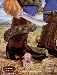 What cowboy boots are really for! :)What a great Nocona Boot ad, from 1979.