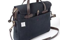 Filson + Apolis Philanthropist Briefcase, Black; the canvas is made from Uganda