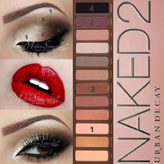 Urban Decay Naked 2 Eyeshadow Palette Tutorials, Naked 2 Step by Step Eyeshadow Pictorial for Brown Eyes