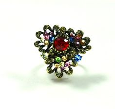 Adjustable Rhinestone Cocktail Ring