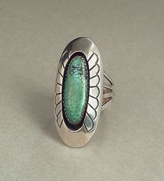 SIGNED Vintage Native American Navajo TURQUOISE Ring SPIDER WEB Sterling Silver 10.5 Grams Size 9.5 Hallmarked #NavajoJewelry