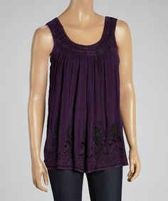 Look what I found on #zulily! Purple Embroidered Yoke Top by The OM Company #zulilyfinds