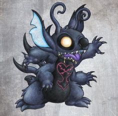 I love Stitch and the Kingdom Hearts series, so i decided to do a cross-over! I thought, what if Stitch became a heartless. Disney Tattoos, Disney Stich, Stitch Drawing, Kingdom Hearts Art, Cute Disney Drawings, Dope Art, Lilo And Stitch, Community Art, Disney Stitch
