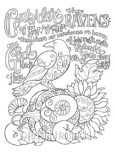 Consider The Ravens Coloring Page 85X11 Bible Journaling Tip In 6X8