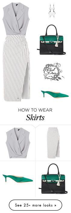 """""""Untitled #38"""" by fixedpixie on Polyvore featuring Gianvito Rossi, Kit Heath, Calvin Klein, Off-White, GREEN, grey, feminine and pencilskirt"""