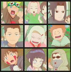 Team 7, Naruto, Sakura, Sasuke, Team 10, Shikamaru, Ino, Choji, Team 8, Kiba, Hinata, Shino, young, childhood; Naruto