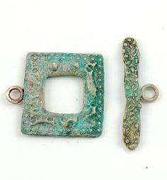 Bronze Toggle Clasp Handmade Square with Blue by edenartglass, $12.00