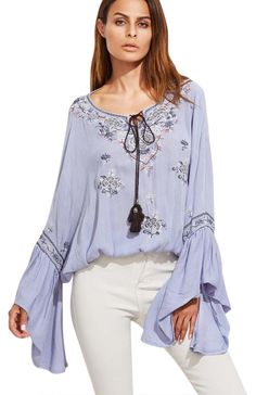 SheIn offers Blue Tie Neck Bell Sleeve Embroidered Top & more to fit your fashionable needs. Ruffle Collar Blouse, Blue Blouse, Boho Fashion, Luxury Fashion, Fashion Outfits, Moda Boho, Floral Blazer, Blue Ties, Beautiful Blouses