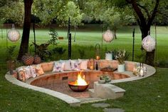 37 DIY Outdoor Fireplace and Fire pit Ideas Decorating your . - 37 DIY Outdoor Fireplace and Fire pit Ideas Decorating your outdoor is good. Sunken Fire Pits, Diy Fire Pit, Fire Pit Backyard, Backyard Patio, Backyard Landscaping, Landscaping Ideas, Garden Fire Pit, Sunken Garden, Backyard Fire Pits