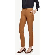 Ann Taylor Petite Devin Ankle Pants ($89) ❤ liked on Polyvore featuring pants, capris, burnished bronze, petite pants, ankle length jeans, brown trousers, ankle jeans and petite ankle jeans
