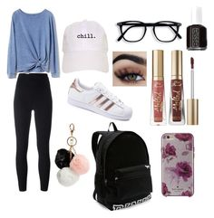 """""""comfy"""" by madystultz on Polyvore featuring adidas Originals, Gap, adidas, Kate Spade, Essie, Too Faced Cosmetics, Victoria's Secret and GUESS"""