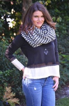 Click to shop - free shipping over $50!  Oversized Houndstooth Infinity Scarf - Black/White – Worn & Raised