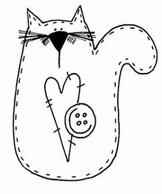 Image result for Free Primitive Embroidery Patterns Cat