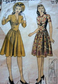 LOVELY VTG 1940s DRESS DU BARRY Sewing Pattern 14/32 fashion style war era gold yellow floral day dress knee length 3/4 sleeves short swing 40s color illustration print ad pattern