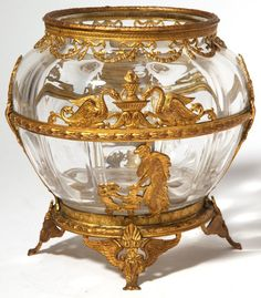 Edwardian cut Connential vase with classical figures and animals in bronze ormalu overlay.