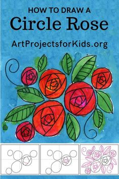 Learn how to draw a rose with this fun and easy art project for kids. Simple step by step tutorial available. art lessons How to Draw a Circle Rose Arts And Crafts For Teens, Art And Craft Videos, Winter Crafts For Kids, Spring Crafts, Kids Crafts, Art Drawings For Kids, Drawing For Kids, Easy Painting For Kids, Easy Art For Kids