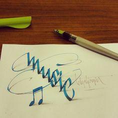 Anamorphic Calligraphy by Tolga Girgin Calligraphy Letters, Caligraphy Pen, Brush Pen Calligraphy, Typography Letters, Penmanship, Calligraphy Artist, Lettering Design, Lettering Art, Lettering Styles