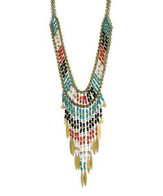 Look what I found on #zulily! Goldtone & Teal Southwest Beaded Bib Necklace by ZAD #zulilyfinds