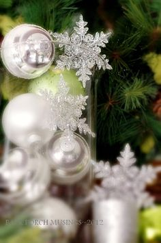 Tis the Season...random thoughts and apple green, silver, and white on the mantel.