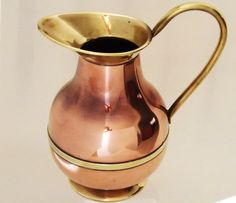 Vintage 1940s British Copper & Brass Jug / Large Rustic Copper Pitcher / Farmhouse, Cabin or Lodge Decor / Olde English Decor / Copper Vase by CuriosAnCollectibles on Etsy