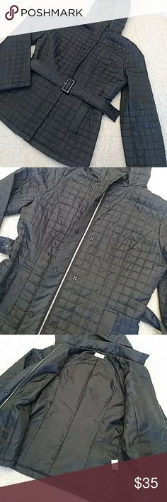 EUC Quilted Black Lightweight Jacket Excellent condition lightweight black quilted jacket with hood and belt. Very cute and perfect for spring or an evening out! Fits size small- refer to measurements in photos. From smoke and pet free home. Jackets & Coats