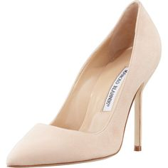 Manolo Blahnik BB Suede 105mm Pump, Nude found on Polyvore