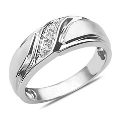 Amazon NissoniJewelry presents - Men's Diamond Accent Wedding Band 10k White Gold    Model Number:GR4110A-W077    http://www.amazon.com/dp/B00I8XMBTY
