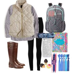 School contest by m-scanlon on Polyvore featuring J.Crew, Max Studio, Tory Burch, The North Face, Vera Bradley and Lilly Pulitzer