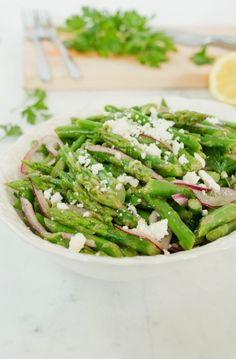 HEALTHY Asparagus Salad with blanched asparagus spears, red onion and ...