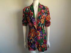 Vintage 90's Floral Print Jacket by tomacrafts on Etsy, €15.00