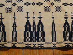 Unusual Antique 19th C Indigo Jacquard Coverlet with Churches Signed | eBay