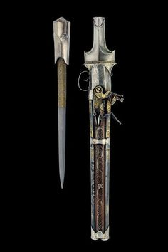 Combination Dagger and Pistol  Dated: circa 1800 Provenance: Ottoman Empire The weapon has three-stage, smoothbore barrels with rings at the girdle. The first part is octagonal with three Arabic stamps and gilded floral decorations. The two round sections are decorated en suite and have blueing remains, especially the lower one, 12 mm caliber.