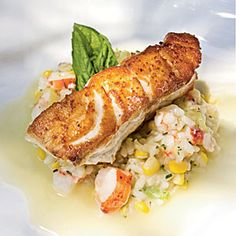 Lobster, shrimp, and corn make up this decadent Seafood Risotto. Serve Seafood Risotto as a main dish or with Roasted Grouper and Champagne-Citrus Beurre Blanc.This recipe goes with Roasted Grouper with Seafood Risotto and Champagne-Citrus Beurre Blanc Seafood Dishes, Fish And Seafood, Seafood Recipes, Cooking Recipes, Healthy Recipes, Cooking Food, Citrus Recipes, Cooking Steak, Cooking Salmon