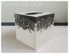 Tissue box by Yvonne - Pewter Me Blue www.fb.com/pewtermeblue Tin Can Art, Tin Art, Metal Projects, Metal Crafts, Tissue Box Covers, Tissue Boxes, Wooden Box Plans, Hobbies And Crafts, Arts And Crafts