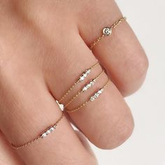 Sweet and delicate diamond chain rings set in bezels and bars #madeinnyc #diamonds #diamondring #chainring #ringstack #valejewelry
