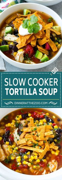 Slow Cooker Chicken Tortilla Soup Recipe | Chicken Soup Recipe | Slow Cooker Chicken Soup | Mexican Chicken Soup | Tortilla Soup Recipe #soup #tortillasoup #chickensoup #mexican #mexicansoup #dinner #dinneratthezoo