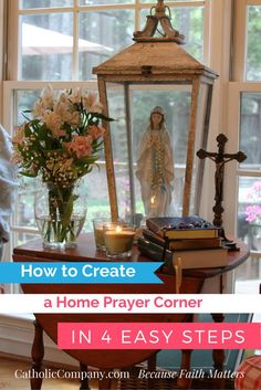 to Create a Home Prayer Corner in 4 Easy Steps Create a space in your home for prayer and spiritual reading with these 4 easy steps.Create a space in your home for prayer and spiritual reading with these 4 easy steps. Home Altar Catholic, Catholic Prayers, Roman Catholic, Jean 3 16, Prayer Corner, Catholic Company, Sainte Marie, Prayer Room, Stairway To Heaven