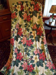 """Vintage Bark Cloth Curtain Drape Panel~64"""" Pinch Pleat~Lovely Floral/Flowers Hibiscus Tropical #1 by PleasantDaysVintage on Etsy"""