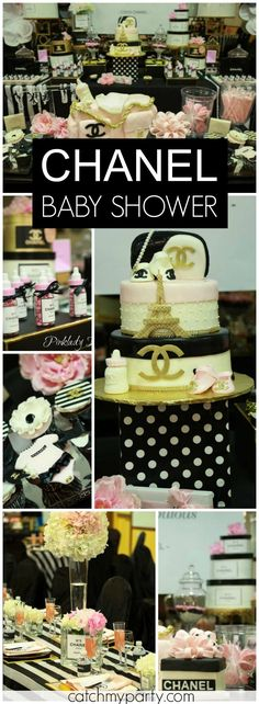 Pinklady Events 's Baby Shower / Coco Chanel - Coco Chanel inspired baby shower at Catch My Party Baby Shower Gender Reveal, Baby Shower Themes, Baby Shower Decorations, Baby Shower Gifts, Shower Ideas, Coco Chanel, Shower Bebe, Girl Shower, Chanel Baby Shower