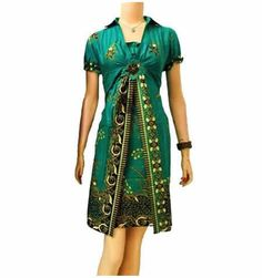 dress batik hijau cantik BD12 murah di http://sekarbatik.com/dress-batik/