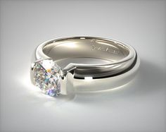 41402 engagement rings, tension, 14k white gold round shaped bar tension setting item - Mobile