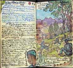 This illustrated diary by Stephen Tennant a friend of the photographer Cecil Beaton, records a holiday in Gibraltar, Morocco and Tangier in Fishermen mending their nets in Algeciras, Gibraltar. Travel Sketchbook, Arte Sketchbook, Sketchbook Pages, Moleskine, Artist Journal, Journal Art, Art Journals, Junk Journal, Bullet Journal
