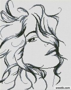 Размер в крестиках: 150х190. Количество оттенков: 2. Контурная схема для вышивки красивой девушки с вьющимися волосами.